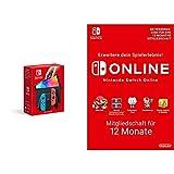 Nintendo Switch (OLED-Modell) Neon-Rot/Neon-Blau + Switch Online Mitgliedschaft - 12 Monate (Nintendo Switch Download Code)